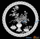 圆盘雕图灰度图-023-菊花-008-圆盘雕图灰度图案