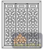 镂空装饰组合式-传统窗扇-镂空装饰组合式-006-镂空花纹矢量图