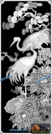 01-春花万朵-057-花鸟浮雕灰度图