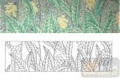 雕刻玻璃-肌理雕刻系列1-绿叶黄花-00026