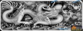 01-龙戏-046-龙凤浮雕灰度图