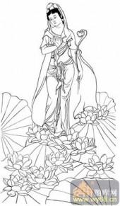 观音-白描图-07步步踏莲花-电子版观音菩萨