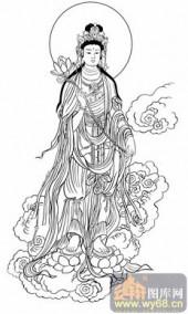 观音-白描图-10持莲观音-1-观音菩萨雕刻图案