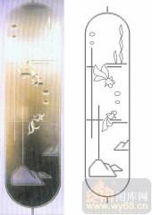 雕刻玻璃图案-浮雕贴片-金鱼-00077