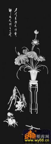 八宝015-荷花-柳暗花明又一村-八仙浮雕灰度图