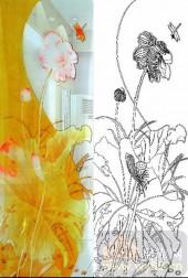 2011设计艺术玻璃刻绘-金荷花-装饰玻璃