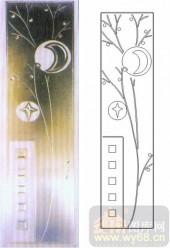 雕刻玻璃图案-浮雕贴片-月亮高楼-00078