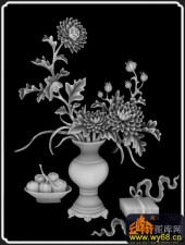 八宝009-菊花-书柜菊-雕刻灰度图
