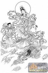 观音-白描图-50金龙呈祥-电子版观音菩萨