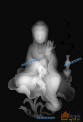 小佛-菩萨-047-玉雕精雕灰度图