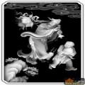 人物 桃 东方塑偷桃-欧式洋花浮雕灰度图
