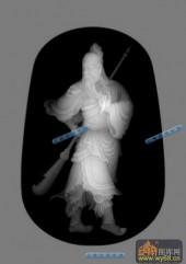 小佛-关羽-027-玉雕浮雕灰度图