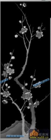 04-冬梅-030-花鸟精雕灰度图
