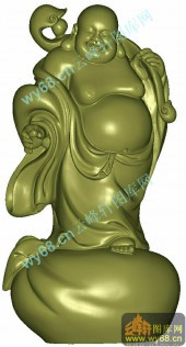 笑佛宝珠站式弥勒-3D雕刻图库