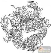 龙-白描图-凤舞龙飞-long29-龙图案