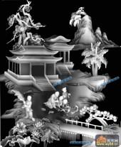 琴棋书画003-书法-书-琴棋书画灰度图案