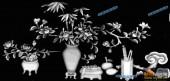 03-竹菊-052-花鸟灰度图