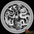 龙凤戏珠 云 回纹边 圆-灰度图