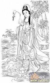 观音-白描图-201紫竹观音-观音菩萨雕刻图案