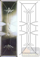 喷砂玻璃-浮雕贴片-莲花-00053