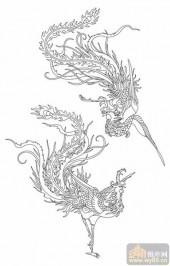 凤-白描图-飞鸾翔凤-huangf019-传统凤图案