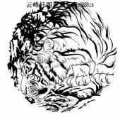 虎第五版-矢量图-猛虎觅水-21-虎国画矢量