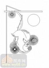 雕刻玻璃图案-11门窗组合-松鼠-00019