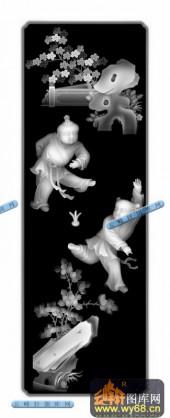 百子图001-童戏-34-雕刻灰度图