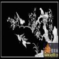 梅花 鸟 雀-木雕灰度图