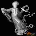 嫦娥 人物 女-木雕灰度图