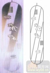 艺术玻璃图库-浮雕贴片-金鱼-00085