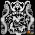 蝙蝠 麒麟 花纹-浮雕灰度图
