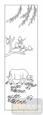 03动物系列-牛吃草-00042-艺术玻璃