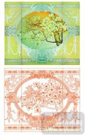 2011设计艺术玻璃刻绘-欧式玉兰花-艺术玻璃图库