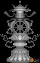 吉祥八宝 花纹 鱼-木雕灰度图