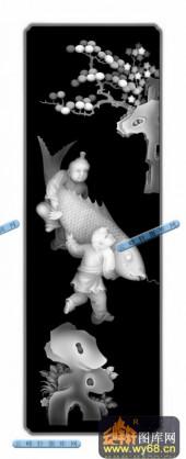 百子图001-童子鲤鱼-33-浮雕灰度图