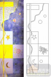 雕刻玻璃图案-肌理雕刻系列1-日月星-00055