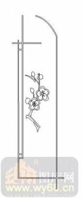 雕刻玻璃图案-08四扇门(4)-梅花-00044