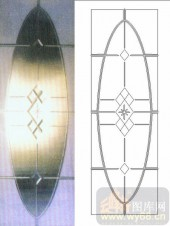 雕刻玻璃-浮雕贴片-菱形图案-00035