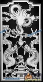 02-二龙戏珠-001-龙凤灰度图