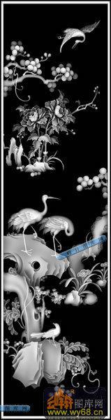 01-仙鹤-023-花鸟雕刻灰度图