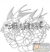 100个中国传统吉祥图-矢量图-燕子向日葵-B-097-吉祥图案