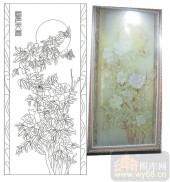 2011设计艺术玻璃刻绘-国色天香-雕刻玻璃图案