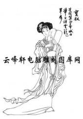 中国国画白描仕女3-矢量图-70薛宝钗-仕女画路径图