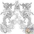 龙-白描图-二龙戏珠-long5-龙图