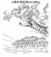 虎第五版-白描图-龙争虎斗-44-老虎雕刻图片