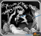 百子图002-童趣-人物四方-百子图灰度图案