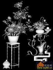 八宝009-秋菊-菊花(2)-雕刻灰度图
