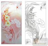 2011设计艺术玻璃刻绘-花3-艺术玻璃
