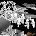 山水 树 童子-灰度图库素材